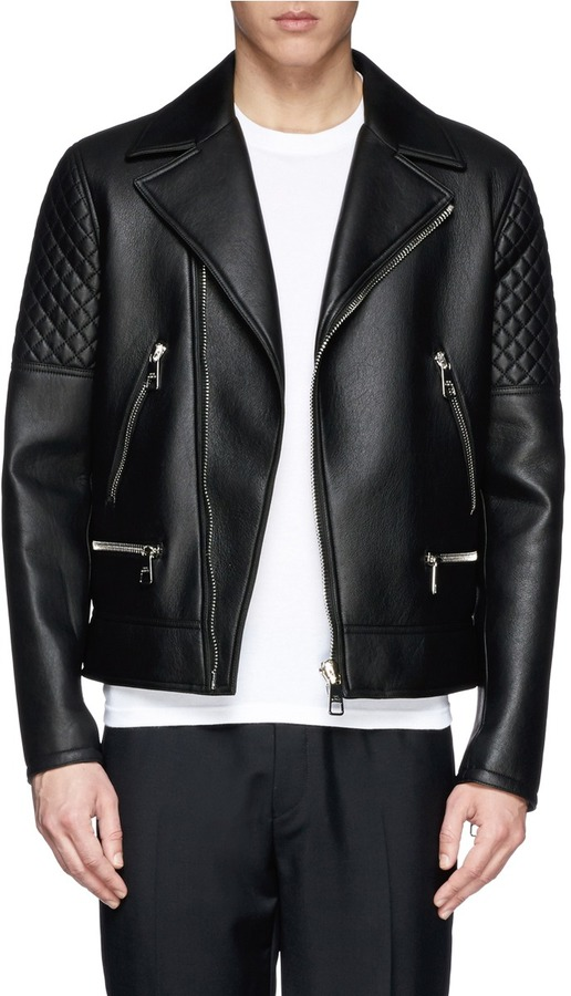Neil Barrett Quilted Sleeve Leather Biker Jacket Where To Buy