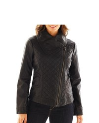 SIENA STUDIO Faux Leather Quilted Moto Jacket