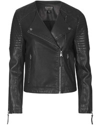 Topshop Quilted Faux Leather Biker