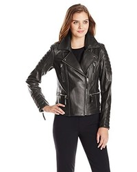Vince Camuto Leather Moto Jacket With Gold Hardware