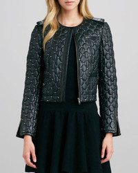 Alice + Olivia Siri Quilted Studded Leather Jacket