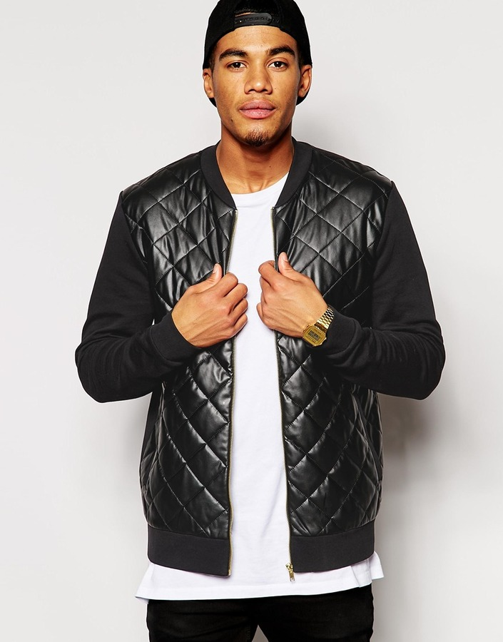 Asos Brand Bomber Jacket In Jersey With Quilted Faux Leather Front ...