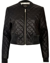 Black quilted bomber jacket medium 874505