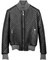 Forzieri Black Quilted Leather Bomber Jacket