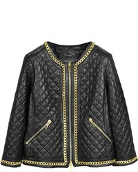 Forzieri Black Quilted Leather Wgold Tone Chain Jacket