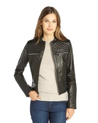 Marc New York Black Quilted Leather Zip Pocket Grace Jacket