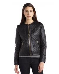 Laundry by Shelli Segal Black Quilted Leather Zip Up Jacket