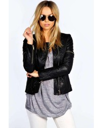 Boohoo Tarah Quilted Collarless Faux Leather Jacket