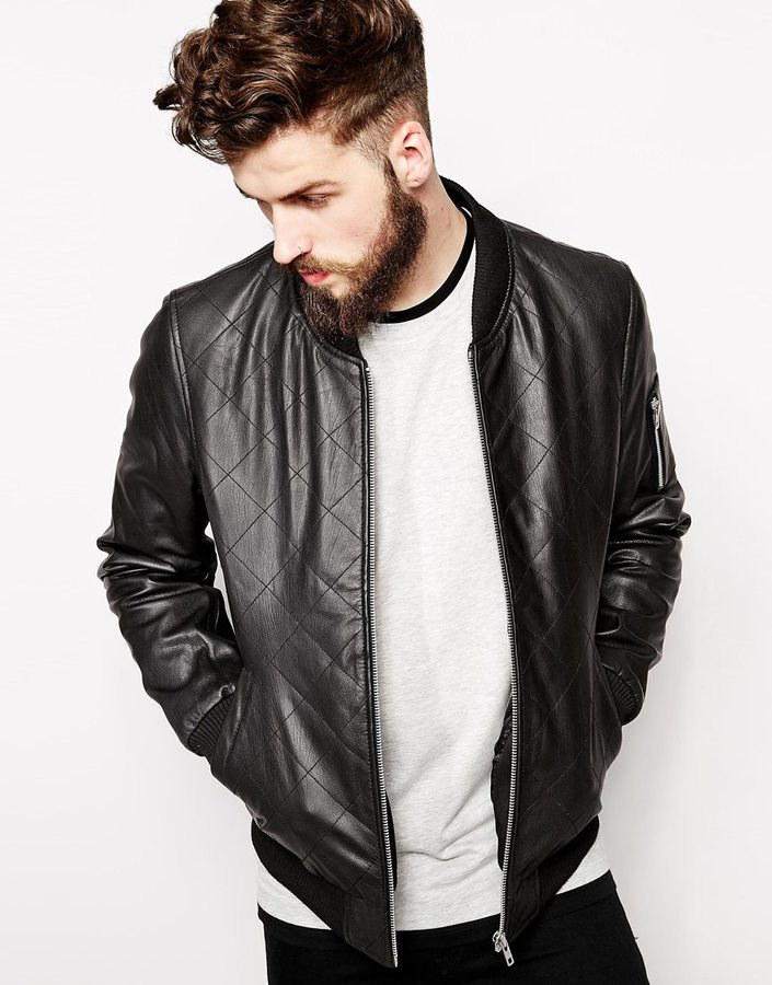 Asos Brand Leather Quilted Bomber Jacket Where To Buy How To Wear