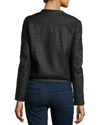 2b9ecdffe $79, Max Studio Check Quilted Faux Leather Jacket Black