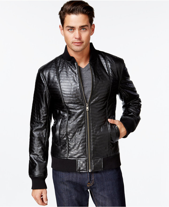 655eb4304 GUESS Colin Quilted Faux Leather Jacket, $168 | Macy's | Lookastic.com