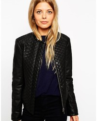 Asos Collection Bomber Jacket In Quilted Leather Look