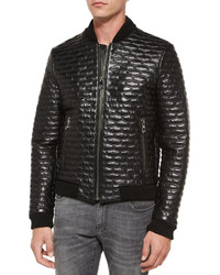 1e4cdfc38 Men's Black Quilted Leather Bomber Jackets by Versace | Men's ...
