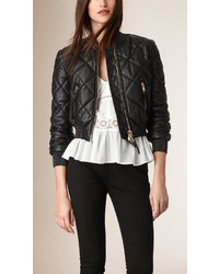 656d5293dc0 ... Burberry Cropped Quilted Lambskin Bomber Jacket