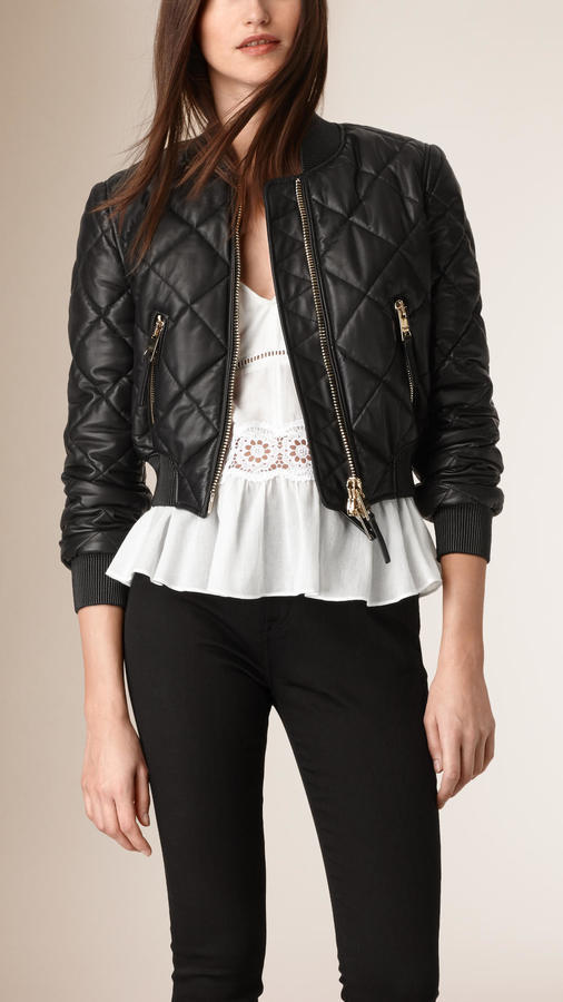 62d5476e045 ... Black Quilted Leather Bomber Jackets Burberry Cropped Quilted Lambskin  Bomber Jacket ...