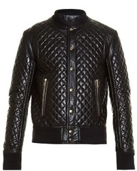 Diamond quilted leather bomber jacket medium 763774
