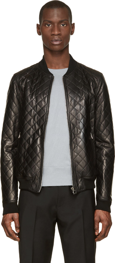 Dolce & Gabbana Black Quilted Leather Bomber Jacket | Where to buy ...