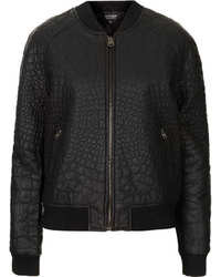 Topshop Faux Leather Croc Bomber