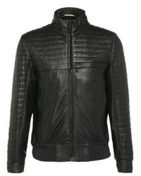 Jalon quilted leather bomber jacket s black medium 874604