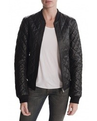 Black Quilted Leather Bomber Jackets for Women | Women's Fashion