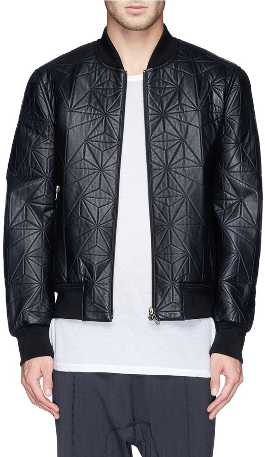 Neil Barrett Quilted Prism Leather Bomber Jacket | Where to buy ...