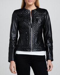 Neiman Marcus Quilted Front Leather Jacket