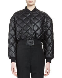 Stella McCartney Quilted Faux Leather Bomber Jacket Black