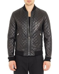 d6471730b584 Men s Black Quilted Leather Bomber Jackets by Dolce   Gabbana ...