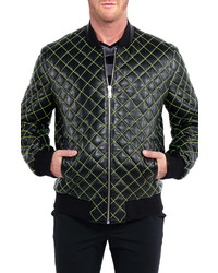 Maceoo Quilted Leather Bomber Jacket