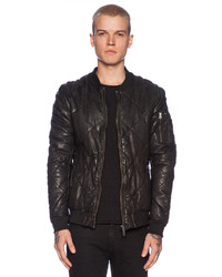 Scotch & Soda Quilted Leather Bomber Jacket