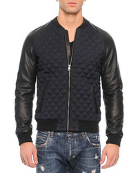 Dolce & Gabbana Quilted Leather Bomber Jacket Navyblack