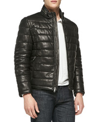 Quilted leather jacket black medium 457155