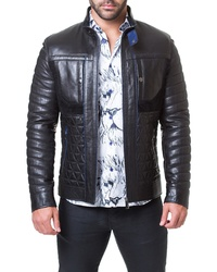 Maceoo Regular Fit Quilted Leather Jacket