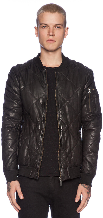 Scotch & Soda Quilted Leather Bomber Jacket | Where to buy & how ...