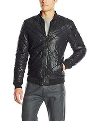 Scotch & Soda Quilted Leather Bomber Jacket With Detachable Nylon Hood