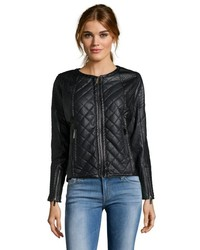 Storiesby Kelly Osbourne Black Quilted Faux Leather Biker Jacket