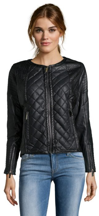 Storiesby Kelly Osbourne Black Quilted Faux Leather Biker Jacket ... : leather quilted biker jacket - Adamdwight.com
