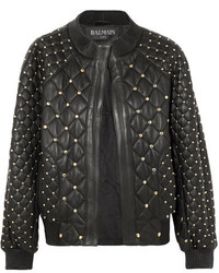 Studded quilted leather bomber jacket black medium 5258993