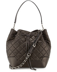Alice + Olivia Quilted Lambskin Bucket Bag Black