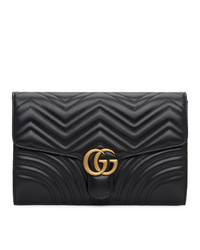 Gucci Black Medium Gg Marmont 20 Clutch