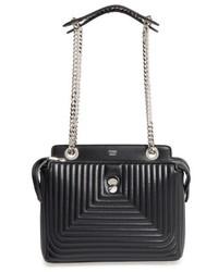 Fendi Dotcom Click Quilted Leather Satchel Black