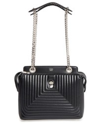 Fendi Dotcom Click Quilted Leather Satchel Grey