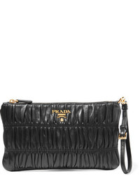 Prada Matelass Leather Clutch Black