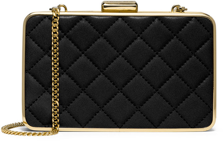 5b817d360058 ... MICHAEL Michael Kors Michl Michl Kors Elsie Quilted Box Clutch Bag  Black ...