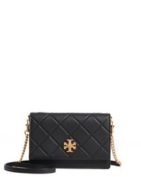 Tory Burch Mini Georgia Quilted Leather Shoulder Bag Black