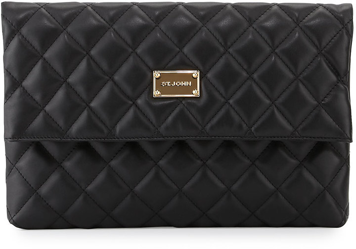 Quilted Leather Fold Over Clutch Bag Black