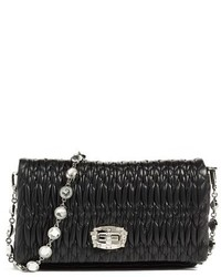 Small crystal embellished leather shoulder bag black medium 1159264