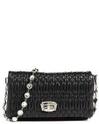 Small crystal embellished leather shoulder bag black medium 1159264
