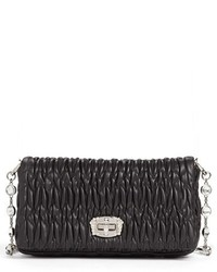 Miu Miu Small Crystal Embellished Nappa Shoulder Bag Orange