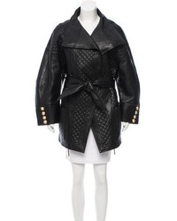 Quilted leather coat medium 5422696
